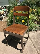Vtg Industrial Metal Wood School Child Desk Chair American Seating Co
