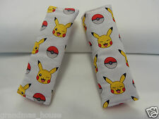 Baby Seat Belt Strap Covers Car Chair Stroller- Pokemon - Pikachu 100% Cotton