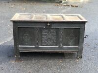18th Century Carved Oak Chest. Large In Size.