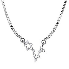Pisces Zodiac Sign Astrology Constellation Star Necklace 14K White Gold Over