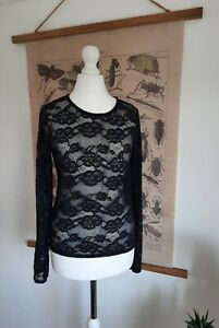 Urban Outfitters Lace Black Long Sleeve Layering Top UK M Halloween Scoop