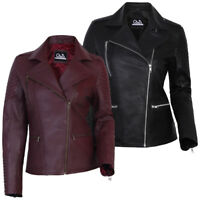Women Ladies Real Leather Biker Jacket New Slim Fit Soft Sheep Leather S-3XL
