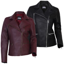Womens Real Genuine Leather Jacket Slim Fit Zip Up Biker Flight Coat Cafe Racer