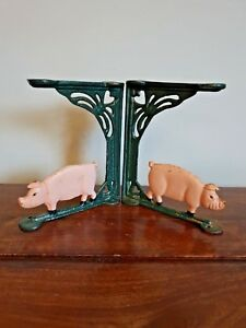 Vintage Pair of Cast Iron Shelf Brackets with Pig Design (Green Farm Animal)