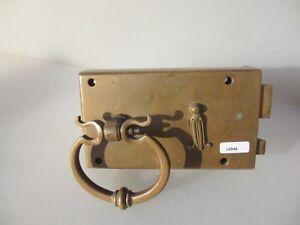 Georgian Brass Door Lock Handle Pull Antique Adam Style Husk Old Victorian