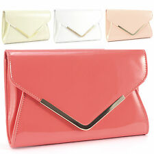 Metal Trim Fold Over Flap Hand Carry Purse Patent Leather Clutch Women Handbag