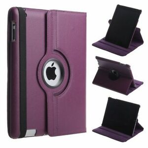 Purple Leather 360° Rotating Stand Case For iPad AIR 2 / IPAD 6 UK FREE DISPATCH