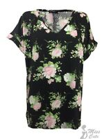 NEW WOMENS LADIES V NECK BAGGY PRINT WET LOOK TURN UP SLEEVE TOP PLUS SIZE 8-26