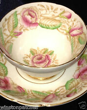 STANLEY BONE CHINA ENGLAND ROSALIND FOOTED CUP & SAUCER PINK FLOWERS GOLD TRIM
