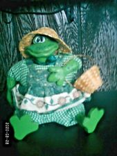 """Frog stuffed w/resin accents 5"""" sitting home decor decoration"""