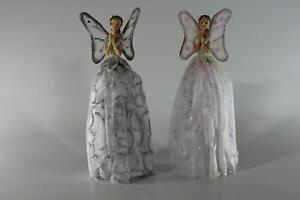 UK-Gardens White Or Silver and White 25cm Praying Angel Tree Fairy