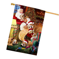 Bulldog Dog and Puppies Sleeping with Santa House Flag