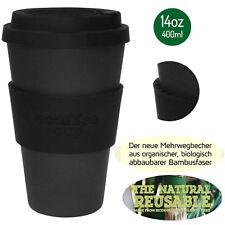 LS eCoffee Cup Coffee To Go Becher 400ml Kaffeebecher Bambus Bamboo Blackout