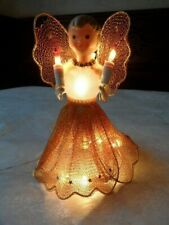 Vintage Lighted Angel Glass Beaded Neckless Coper Mesh Wings and Skirt