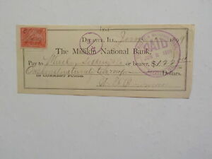 Antique Check 1899 The Millikin National Bank Decatur Illinois Revenue Stamp VTG