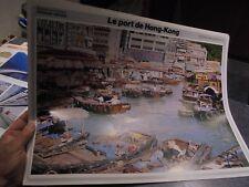Ancienne Affiche Pédagogique Le Port de Hong Kong  37 x 49cm Fernand Nathan