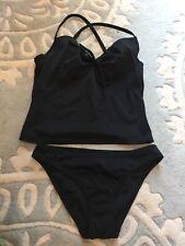 Victoria's Secret 3 Pc Tankini Bikini Swim Bathing Suit Black XS 34A Nice