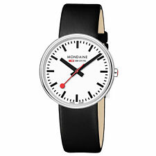 Mondaine A763.30362.11SBB Women's White Dial Black Strap Watch