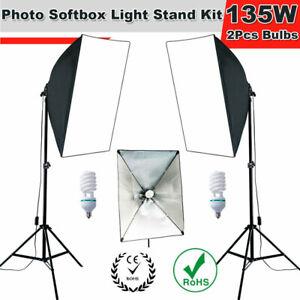Photo Studio 2x135W Bulbs Softbox Continuous Lighting Soft Box Light Stand Kit