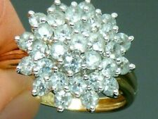 9ct Gold Aquamarine Stunning Cluster Hallmarked ring size Q