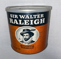 Vintage SIR WALTER RALEIGH Empty Smoking TOBACCO Large 14oz.Can w/cover Prop