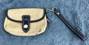 Dooney & Bourke  Wristlet Purse Coated Fabric Duck Navy Blue Leather Trim