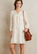 New Anthropologie Tiny LUISA Sz M Ivory Cream Tie-Front Embroidered Swing Dress