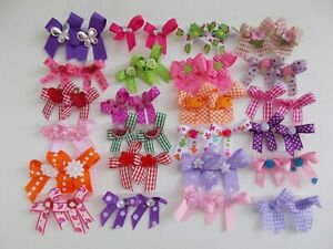 48  Fancy Dog Pet Child Baby Grooming Bows 2 sizes color variety Lot  # 33