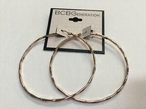 "BCBG Diamond Cut Wave Hoop Dangle Rose Gold Plated Earrings 2""1/2 Macy's R90"