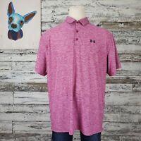 Under Armour Heat Gear Mens Polo Golf Shirt Short Sleeve Pink Loose Size 2XL