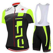 New 2015 Cycling Set Short Sleeve Jersey Bib Shorts Full Zipper High Visibility