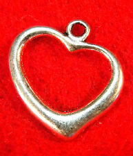 10Pcs. Tibetan Silver Open HEART Charms Pendants Earring Drops Findings H24