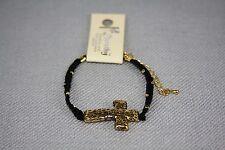 Gold Cross Cord Bracelet Love Faith Hope Color CHOICE US Seller
