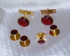 Cufflinks and Tuxedo Studs Gold Garnet Burgundy  New