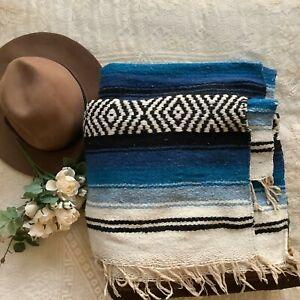 "Vintage 70s thick heavy Ethnic brown black green Zarape fringed blanket 58""x85"""