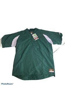 Louisville Slugger Mens Large Batting Cage Pullover 1/4 Zip Short Sleeve Green