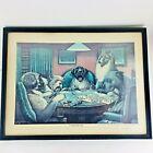 Dogs Playing Poker 'A Waterloo' Print CM Coolidge Artist Black Frame Glass 16x12
