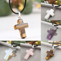 Unisex's Natural Quartz Gemstone Cross Pendant Point Healing Pendant Necklace