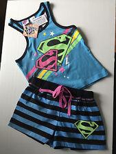 BNWT Girls Sz 14 Cute Blue Super Girl Print Short Summer Stretch PJ Pyjamas