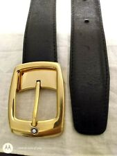 Montblanc Leather Suit Formal Belt gold buckle  Made In italy