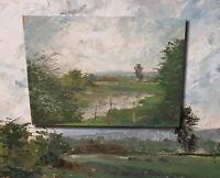 Impressionistische Landschaft im Stil Barbizon. Original Ölgemälde monogrammiert