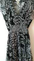 ICE 100% Silk Sheer Dress Flowy Lined Black & White Floral Sz 8 Sequins Sparkle