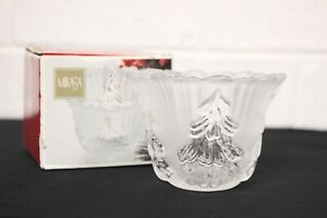 """NEW: MIKASA - WINTER DREAMS FROSTED GLASS 3"""" TEALIGHT CANDLE HOLDER - GERMANY"""