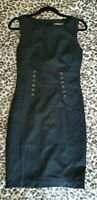 South Navy Pinstripe Shift Fitted Buttoned Sleeveless Formal Suit Dress UK6/8