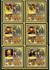 MOZAMBIQUE 2002 PAINTINGS BY VINCENT VAN GOGH 6 S/S PERF.& IMPERF. MNH