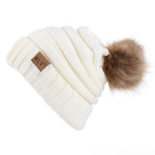 Winter Women Fur Pom Pom Ball Knit Crochet Baggy Bobble Hat Beanie Beret Ski Cap