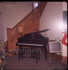 Retro Portable TV Television Set & Piano Christmas Vintage Slide Photo