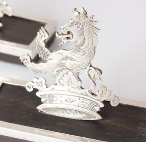 2 Victorian Silver Lion & Crown Menu Holders. Photo Card Clip. James Dudley 1895