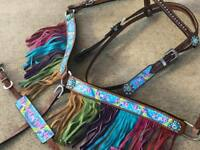 Western Pony Size Horse Rainbow Pony Unicorn Tack Set w/ Fringe + Wither Strap