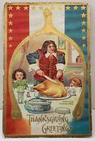 Thanksgiving Patriotic Carving Turkey Gold Wishbone Pretty Dish 1909 Postcard A9